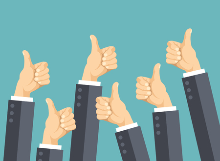 44905746 - many thumbs up. social network likes, approval, customers feedback concept