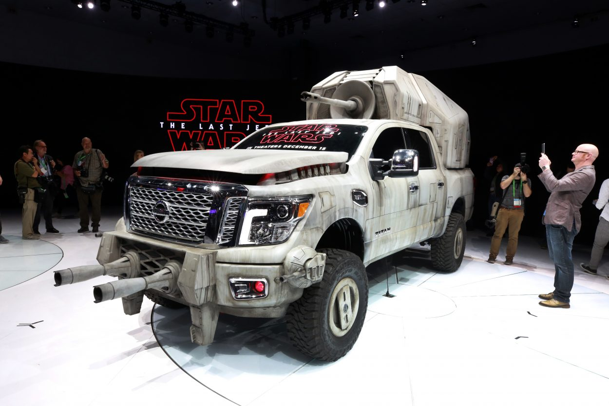 Today at the Los Angeles Auto Show, Nissan's Jeremy Tucker revealed the seventh and largest customized Star Wars-inspired vehicle - the 2018 Nissan TITAN AT-M6. The truck features a massive megacaliber cannon affixed to its back and a custom body wrap reminiscent of the massive First Order walker seen in Star Wars: The Last Jedi. The truck will be on display in the Nissan booth at the Los Angeles Auto Show Dec. 1-10.