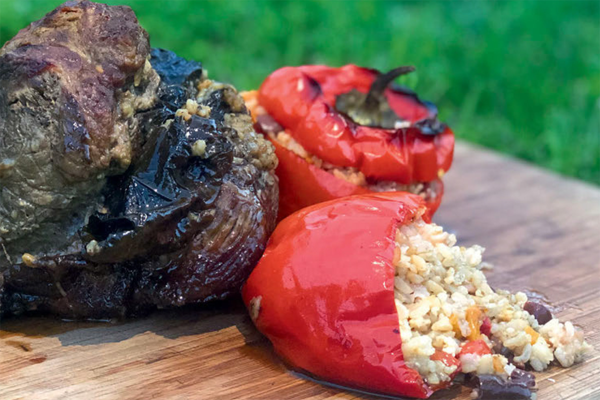 Roast Lamb with Dolmades and Stuffed Capsicums