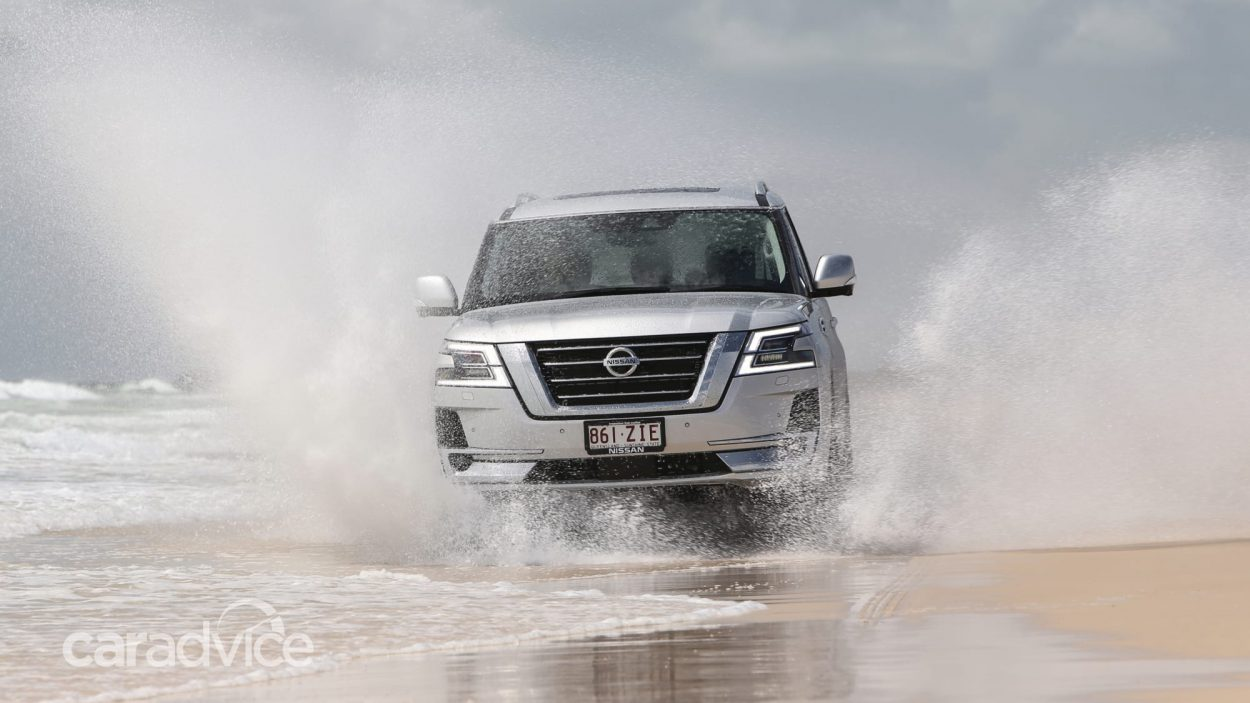 Nissan Patrol V8 driving through water